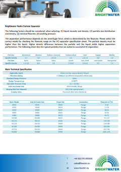 Hydrocyclone filtration datasheet